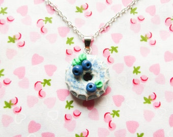 Blueberry Donut/Doughnut Necklace, Kawaii Necklace, Food Necklace, Food Jewelry, Polymer Clay, Cute Necklace, Sweet Lolita