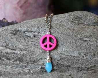 Pink Peace Necklace - Pink & Blue Pendant - Hippie Jewelry - Peace Sign Jewelry - Boho Jewelry - Gypsy Festival Fashion - Hippie Necklace