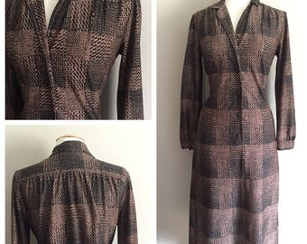 Hal Hardin Brown and Black 70s Dress // 70s Brown Dress // Modest Classic