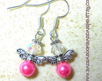 Pink Angel Earrings - Surgical Steel French Hooks