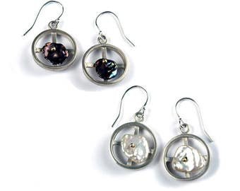 Sterling Silver Round Earrings with Keshi Pearls