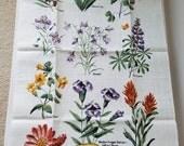 Vintage Wild Flowers of Yellowstone Linen Tea Towel By The Kay Dee Company, Botanical Wildflowers Gardener Naturalist