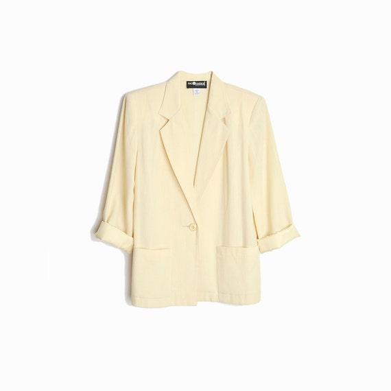 Vintage 90s Minimalist Blazer in Ecru / Blaze Jacket - women's petite small
