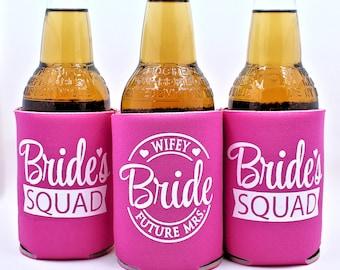 Bachelorette Party Can Coolers,  Bachelorette Favors, Bride's Squad, Hot Pink