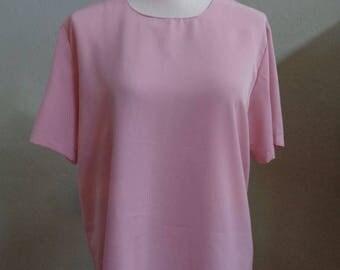 "Vintage Impressions Medium Pink Short Sleeved Blouse Back Closure Bust 42"" Waist 42"""