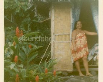 Vintage Photo,  Polynesian Woman in Mumu. Tropical grass hut, Tahiti   Written on back Tahiti Dec 7, 1966 Color Photo,  Old Photo