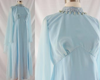 Vintage Seventies Dress -  1970's Blue Goddess Dress - 70s Sheer Cape Sleeves Gown - Medium Baby Blue Gown - Gown with Cape Sleeves