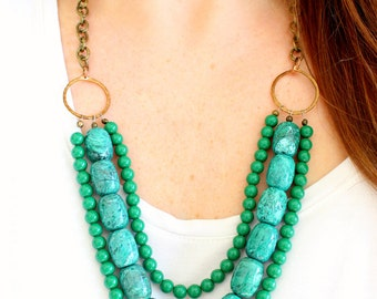 Green beaded statement necklace, multi layer necklace