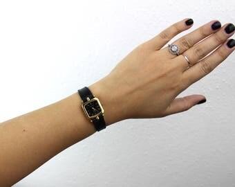 Vintage Gucci Gold and Black Women's Watch, Small Square Black Dial Striped Edge, Black Leather Band, Quartz Movement Switzerland 060020