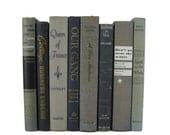 Blue and Gray Books, Wedding Decor, Home Decor, Vintage  Books, decorative books, old books, library decor, stack of books, Bookshelf Decor