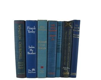 Blue Home Decor, Blue  Book Set, Decorative Books , Vintage Books , Instant Library , Wedding Decor , Shabby Chic Decor