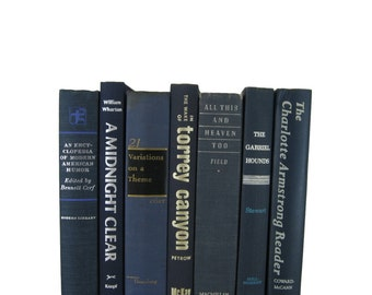 Blue  Books,  Decorative Books, vintage book , old book , vintage book bundle , photo prop , wedding decor , vintage book set,