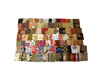 Lot of 142 Quilt Squares Neutral Tones, Coral, Maroon, Burgundy, Pinks Fabric Squares Destash