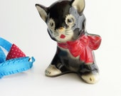 Vintage Black Cat with Bow Planter Handpainted Gold and Red Cold Paint Mid Century Ceramic Pottery