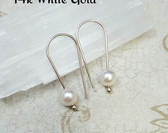 SOLID GOLD Pearl earrings. Tiny pearl hoops. 14k gold hoops. Rose Gold Earrings. Minimalist earrings. Bridal jewelry. Modern earrings WL25