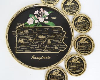 Vintage Pennsylvania Tin Serving Tray and Matching Coasters with Mountain Laurel