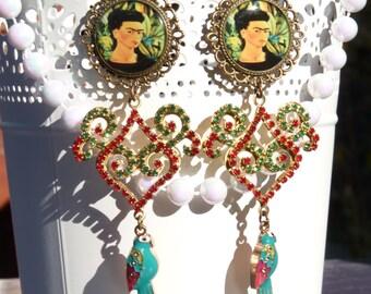 FREE SHIPPING Frida Kahlo Resin Light Weight Earrings - Parrot - Mexican Art - Frida Earrings - Handmade - Gift Ideas - For Her - Arabesque
