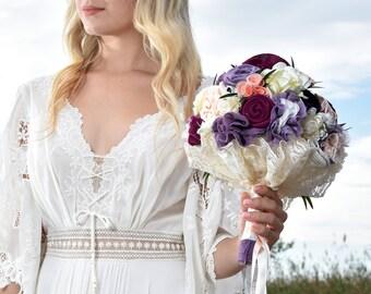 bridal bouquet,purple bouquet, wild flowers bouquet, purple bouquet, lavender plum bouquet, wedding bouquet