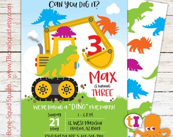 Construction, Truck, T-Rex, Dinosaur, Birthday, Party, Invitation, for kids