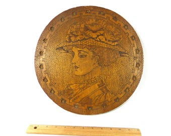 Victorian Woman Wall Plaque Antique Wood Signed Pyrography Flemish Art Handmade 1900