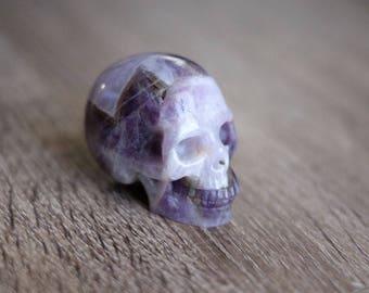Chevron Dream Amethyst Stone Carved Crystal Skull