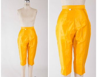 1950s Vintage Pants • How Sweet • Marigold Yellow Cotton High Rise 50s Pants Size Small