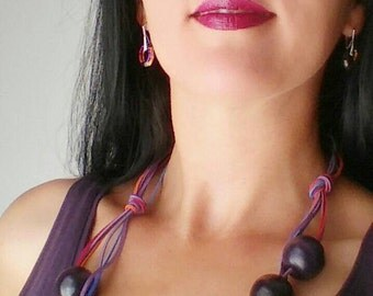 Statement wood necklace, dark purple necklace, dark pink, lavender Boho Chic leather wood jewelry, hand painted necklace, leather strands