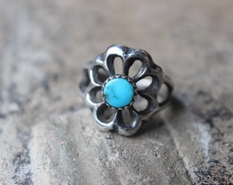 Sand Cast RING / Vintage Navajo Style Turquoise Ring / Early Southwest Sterling Jewelry / Size 7 1/4