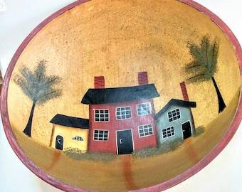 Vintage Wood Bowl, Hand Painted, Fruit Bowl,Vegetable Bowl,Wedding Gift,Housewarming Gift