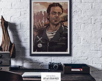 NEGAN - The Walking Dead - Jeffrey Dean Morgan - AMC - Villain Art - Comic Book Art - Television Art - Original Art Poster