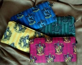 Hogwarts Houses Wristlet - Zippered Pouch - Wallet - Makeup Bag - Wristlet - Custom - Made to Order - Quick Shipping