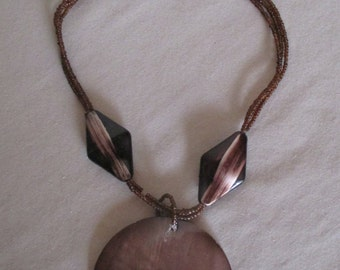 Necklace, Vintage Shell Pendant Iridescent Brown Pearl Statement Disc Reversible, Tropical Resort Cruise Beach Accessory