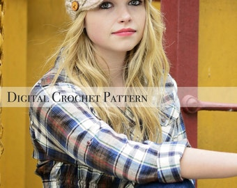 Crochet Pattern / Women's Cross Stitch Hat Pattern 002 & Children's Cross Stitch Hat Pattern 003 / Women's Hat Pattern / Newsboy Hat Pattern