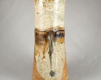 Tall Douglas L. Johnson, vintage studio pottery vase, open mouth vase, gorgeous glaze, altered form