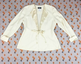 90s White Long Sleeve Oversize Collar Tie Front Jacket / y2k / Size Large / Extra Large / Clueless / Satin / Club Kid / 90210 / Fly Girl /