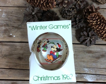 Walt Disney Christmas Ornament, Winter Games, Schmid, 1982, Ninth limited edition, Mickey Mouse