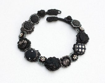 Unique black and white necklace, statement crochet jewelry with fabric buttons and vintage rhinestones, OOAK elegant black necklace