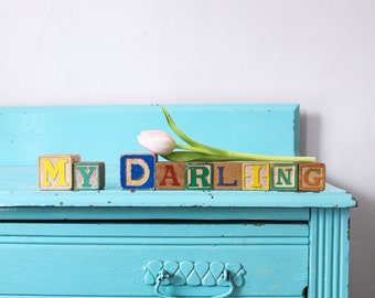 Vintage MY DARLING wooden letter blocks, Vintage My Darling wooden letter blocks, My Darling sign, nursery sign, nursery decor