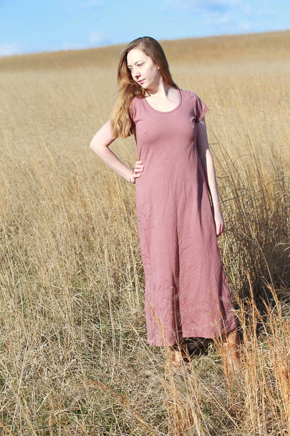 Porch Side Dress. Organic Cotton Jersey Maxi Dress, Hand dyed Eco Friendly Dress