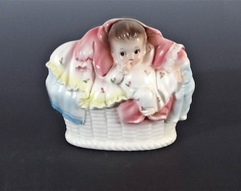 Napcoware Vintage Baby Planter Nursery Decor Mid Century 1950's Ceramic Pottery Numbered Japan