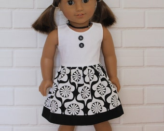 "Black White Retro 60s Sleeveless Summer Dress Dolls Clothes to fit 18"" American Girl dolls and friends"