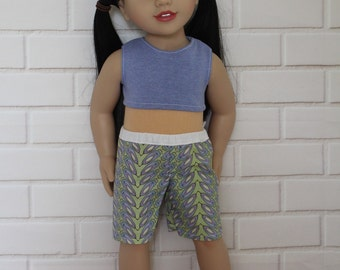 Blue Crop Top Purple Green Board Shorts dolls clothes to fit 18 inch dolls to 20 inch dolls such as American Girl & Australian Girl dolls