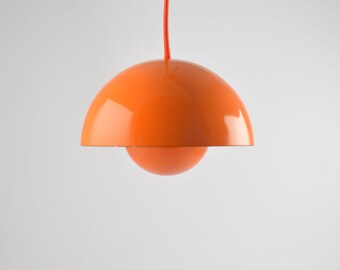 Orange enamel on steel Flowerpot from Verner Panton for Louis Poulsen. Original 1960s danish enamel version