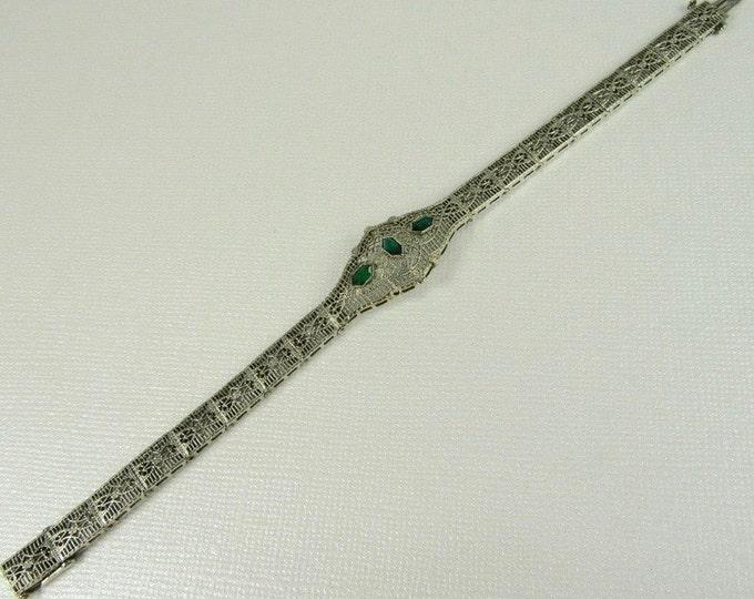 Antique White Gold Filigree Bracelet with Simulated Emeralds; Filigree Bracelet; Art Deco Filigree Bracelet; Filigree Bracelet from 1920's
