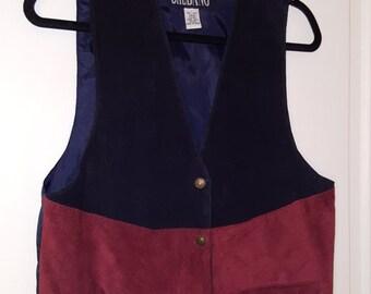 SHEBANG LEATHER VEST // Patchwork Suede Leather Star Button Snap Vest Unisex Size L Black Burgundy Teal