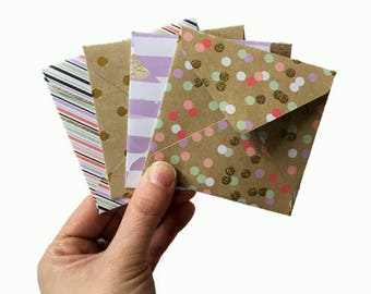 Set of 4 // Mini Square Envelopes // Mini Envelopes // Square Envelopes // Sparkly Envelopes // Glitter Envelopes // Spring Stationery