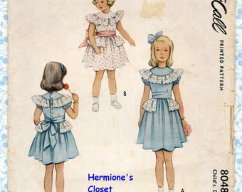 McCalls 8048 Girls Sewing Patterns Party Dress Size 6 Breast 24 Ruffles Lace, Puff Sleeve, Peplum Vintage 1950s Childrens Pattern COMPLETE