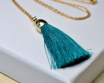 Tassel Necklace, Teal Necklace, Green Tassel Pendant Necklace, Teal Jewelry, Boho Layered Necklace, Gold Chain Necklace, UK, Gift for Women