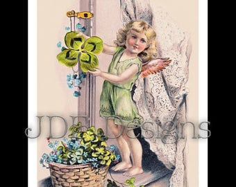 Instant Digital Download, Vintage Edwardian Antique Graphic, Shamrock Fairy Angel, Clovers Printable Image, Scrapbook, St Patricks Day Irish