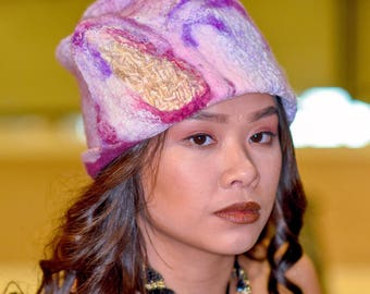 Felted Art Hat in Rose and Violet for an Advanced Style Woman - Wet Felted Cloche Hat